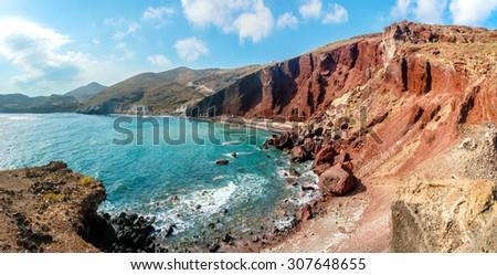 Panorama of the Red Beach on Santorini island, Greece - stock photo