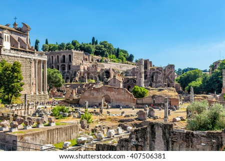 Panorama of the Roman Forum.  - stock photo