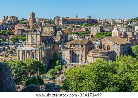 Panorama of the Roman Forum. View from the hill Palatine - stock photo