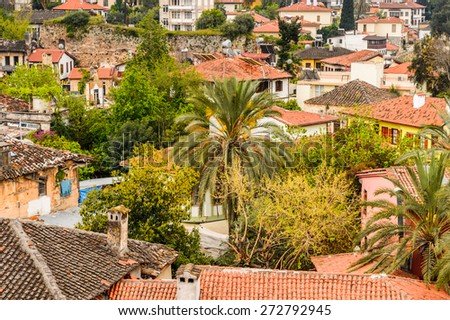 Panorama of the roofs in the Historic part of Antalya (Kaleici), Turkey - stock photo