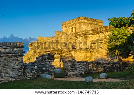 Panorama of the ruins of Tulum, Mayan city, Yacatan, Mexico - stock photo