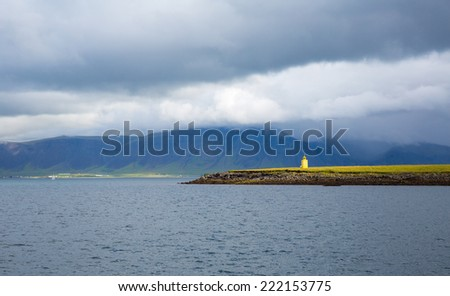 Panorama of the sea near the Reykjavik. Iceland - stock photo