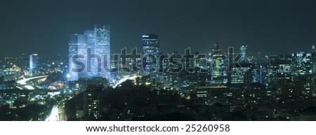 Panorama of the skyline Tel Aviv city at night, Israel - stock photo