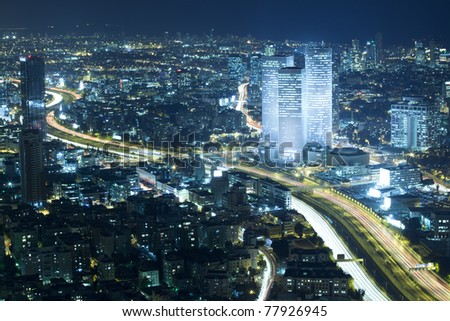 Panorama of the skyline Tel Aviv city at night, Israel - stock photo