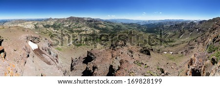 panorama of the Sonora Pass region of the Sierra Nevada Mountains  - stock photo