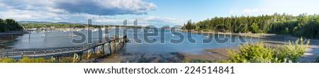 Panorama of the Southwest Harbor, Mount Desert Island, Maine, USA - stock photo