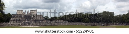 Panorama Of The Temple Of A Thousand Pillars, Chichen Itza, Mexico - stock photo