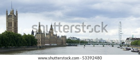 panorama of the thames river london from the house of parliament to the london eye - stock photo