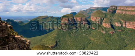 Panorama of the Three Rondavels. Blyde River Canyon, south Africa - stock photo