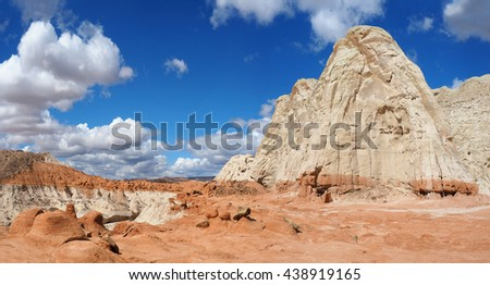 Panorama of the Toad Stools in Grand-Staircase Escalante, Utah - stock photo
