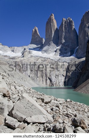 Panorama of the Torres del Paine. Chile