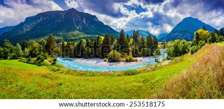 Panorama of the Triglav mountain range, view from the Gozd Martuljek village, Julian Alps, Slovenia. - stock photo