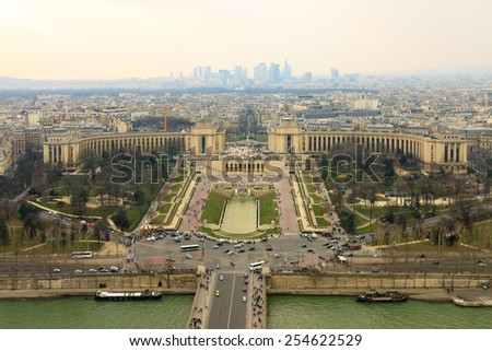 Panorama of the Trocadero from Eiffel Tower, Paris, France - stock photo