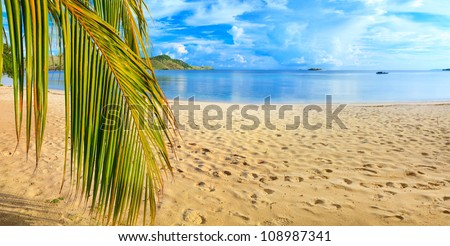 Panorama of the tropical beach - stock photo