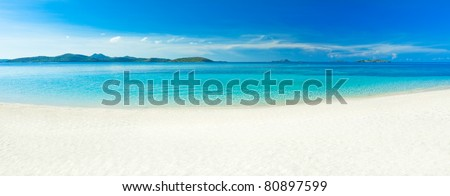 Panorama of the tropical sandy beach Malcapuya - stock photo