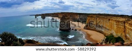Panorama of the Twelve Apostles. Great Ocean Road, Victoria, Australia - stock photo