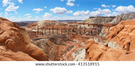 Panorama of the Unique Eroded Landscape of the Grand Staircase-Escalante, Utah - stock photo