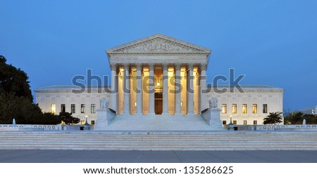 Panorama of the United States Supreme Court at dusk in Washington DC, USA. - stock photo