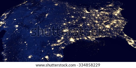 Panorama of the USA by night - Elements of this image furnished by NASA - stock photo