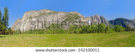 Panorama of the valley floor in Yosemite National Park - stock photo