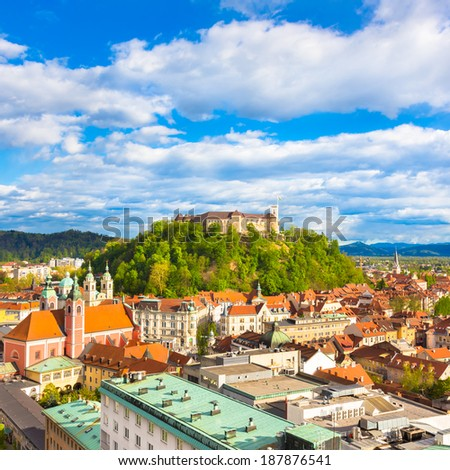 Panorama of the vibrant Slovenian capital Ljubljana in afternoon sun.