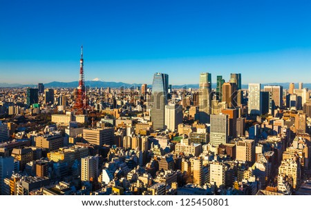 Panorama of Tokyo with the Tokyo Tower and Mt. Fuji, Japan - stock photo