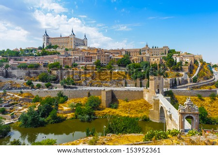 Panorama of Toledo, UNesco World Heritage sight - stock photo
