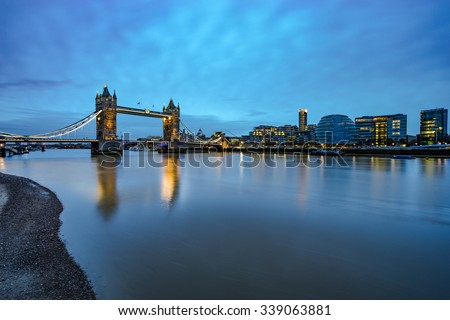 Panorama of Tower Bridge and London City Hall, viewed at Sunrise in London. England - stock photo