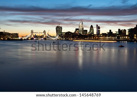 Panorama of Tower bridge and the city of London - stock photo