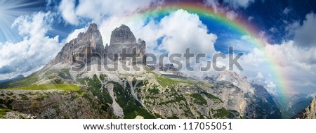 Panorama of Tre Cime di Lavaredo, Dolomites, Italy - stock photo