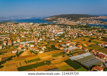 Panorama of Trogir, Croatia. Old town in the distance. - stock photo
