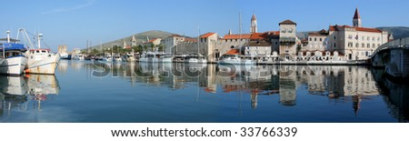Panorama of Trogir harbour (Croatia) - stock photo