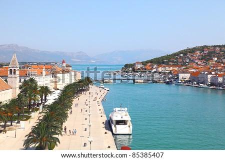 Panorama of Trogir in Croatia - stock photo