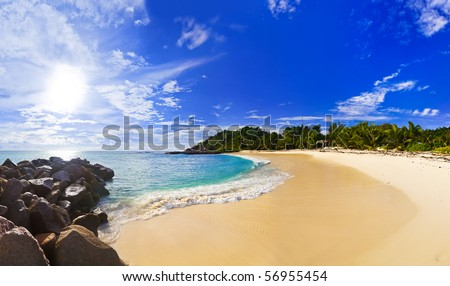 Panorama of tropical beach at evening - nature background - stock photo