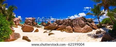 Panorama of tropical beach at Seychelles - nature background - stock photo