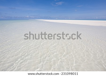 Panorama of tropical beach in the Indian Ocean, Maldives
