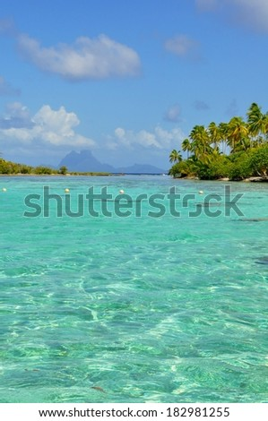 Panorama of tropical beach,Raiatea, French Polynesia, Society Islands  - stock photo