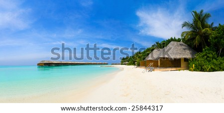 Panorama of tropical beach, travel vacation background - stock photo