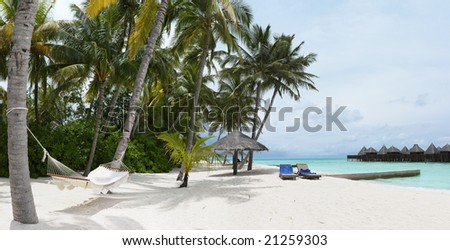 Panorama of tropical island resort - stock photo