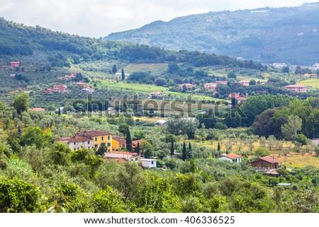 Panorama of Tuscany. - stock photo