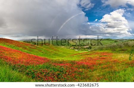 Panorama of Tuscany hills after rain (Italy) - stock photo