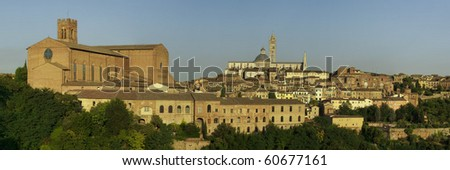 panorama of Tuscany town of Siena in Italy in late evening light - stock photo