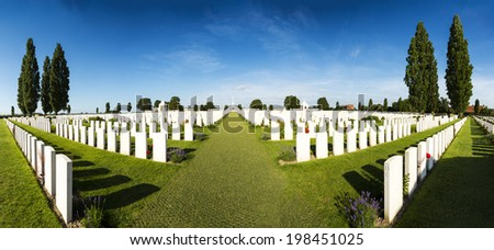 Panorama of Tyne Cot World War One Cemetery, the largest British War cemetery in the world.  near Ypres, Flanders, Zonnebeke, Belgium - stock photo