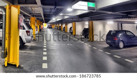 panorama of underground parking in one of the European capitals - stock photo