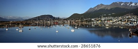 Panorama of Ushuaia - Southern most city in the world - stock photo