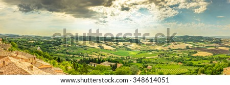 Panorama of Val D'Orcia valley in Tuscany. A view from Montepulciano town. - stock photo
