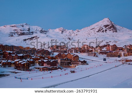 Panorama of Val Thorens at sunset, Alps mountains, France - stock photo