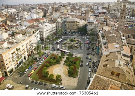 Panorama of Valencia city, Spain. - stock photo