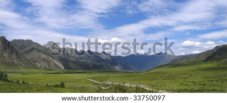 Panorama of valley of Katun river in Altai mountains, Russia
