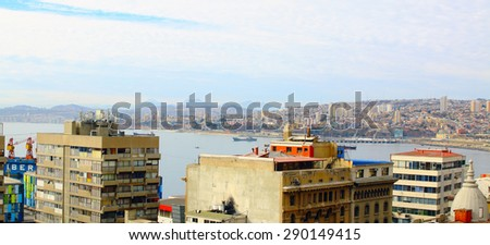 Panorama of Valparaiso - Chile, Latin America. colorful houses - stock photo